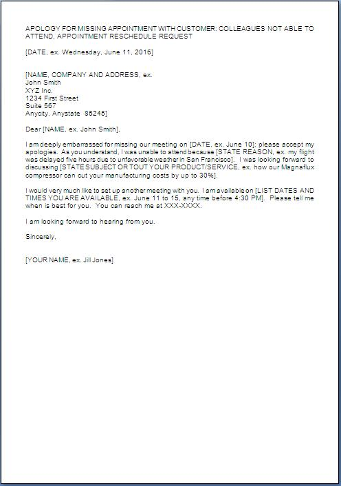 Apology Letter For Appointment Cancellation