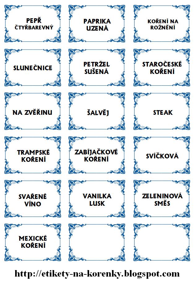 Etikety na kořenky - ozdobný vzor