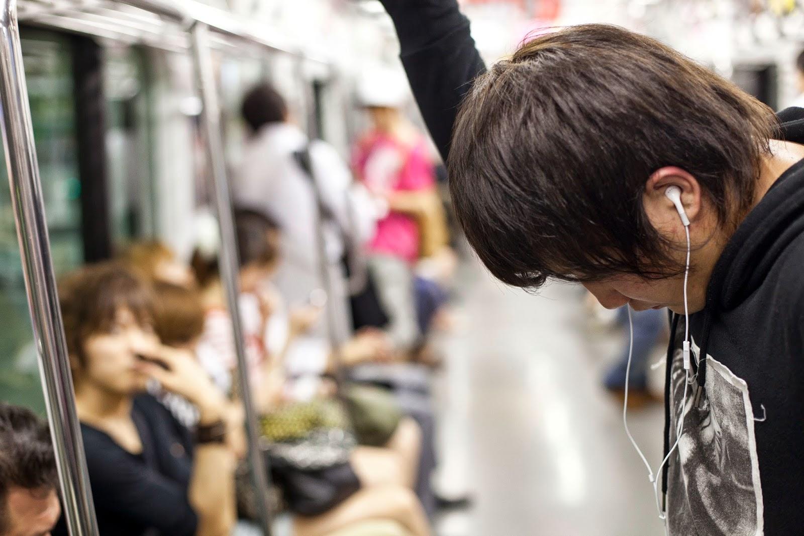 japonés en un tren