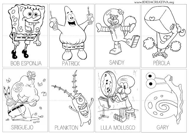 Atividade Puzzle com os nomes dos personagens do Bob Esponja