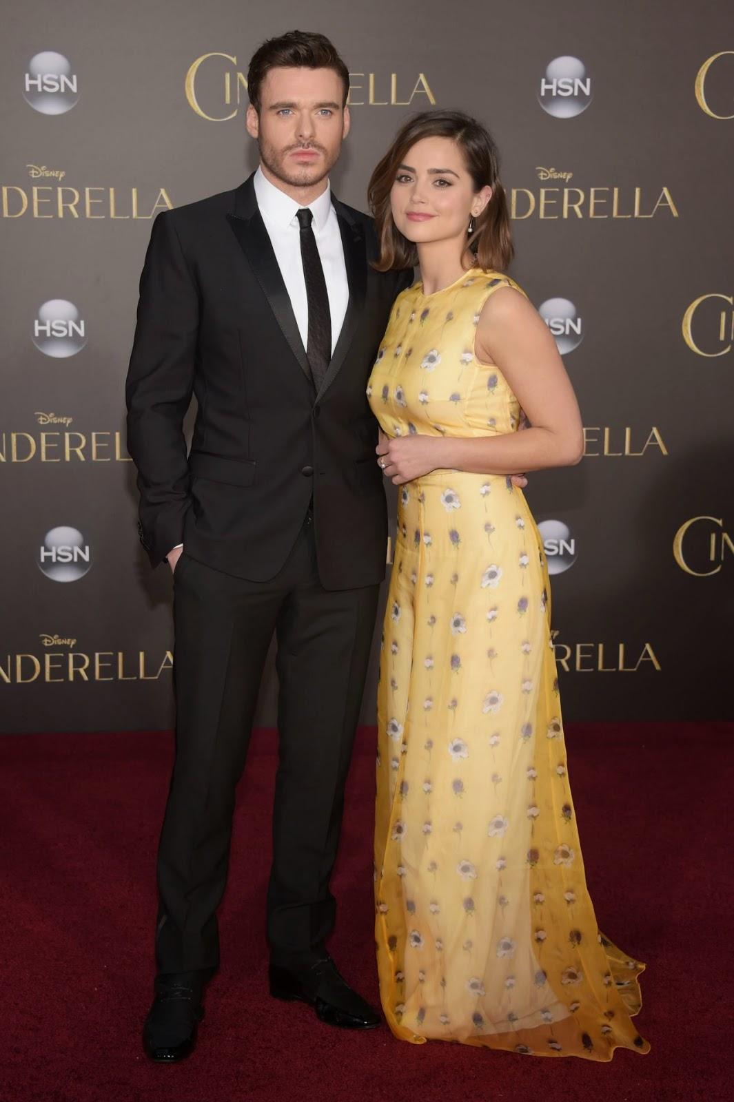 Jenna Louise Coleman and Richard Madden at the 'Cinderella' premiere in Hollywood