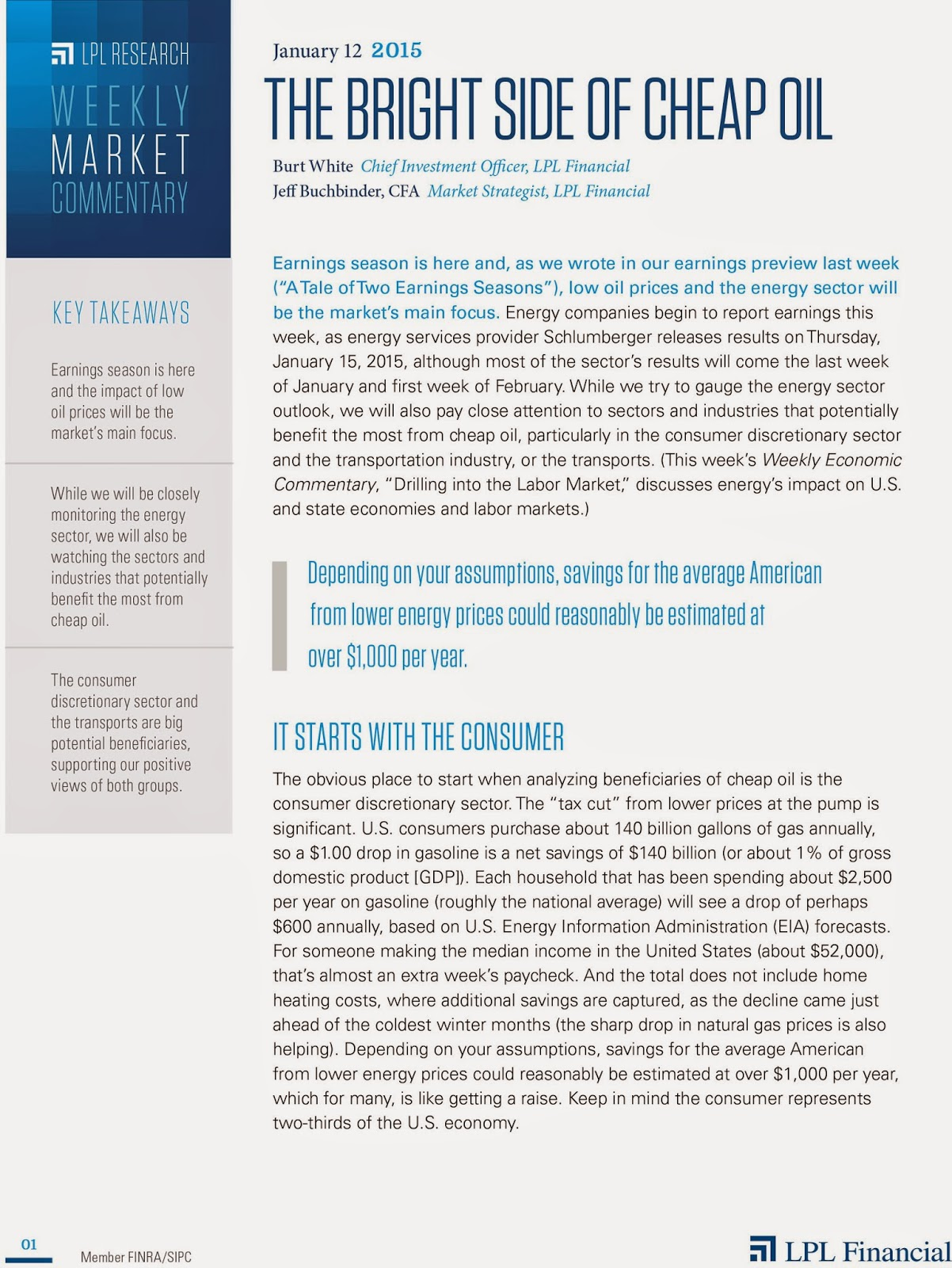 January 12, 2015- LPL Financial Weekly Market Commentary from Legacy Wealth Planning