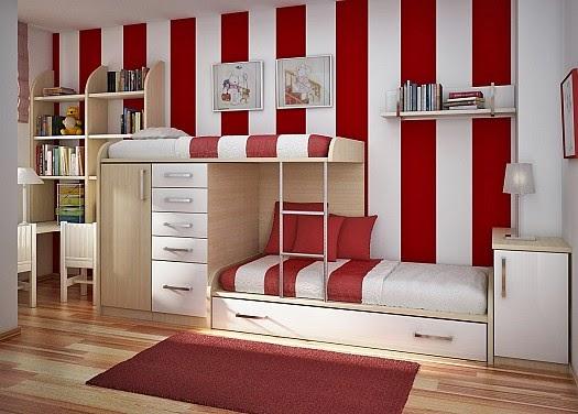 الأحمر مع الأبيض الغرفة بسرير دورين