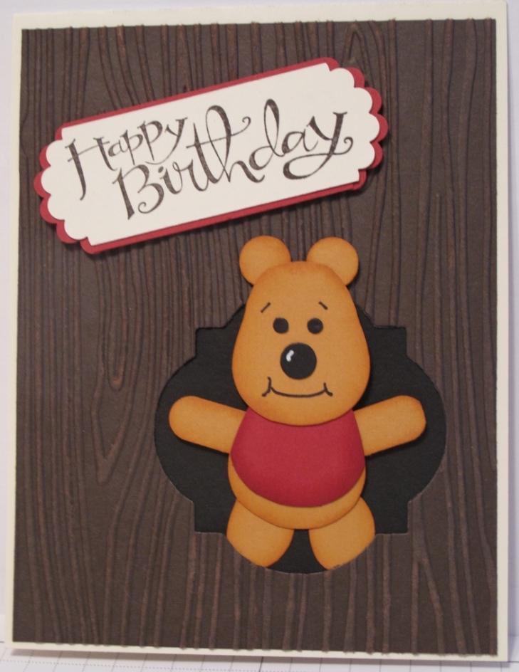 Craft Room Stamper Pooh Bear Punch Art Card