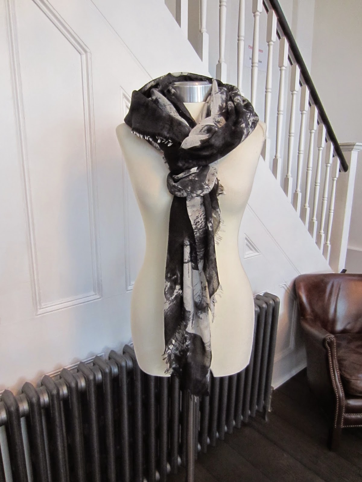 All Saints Black & White Scarf