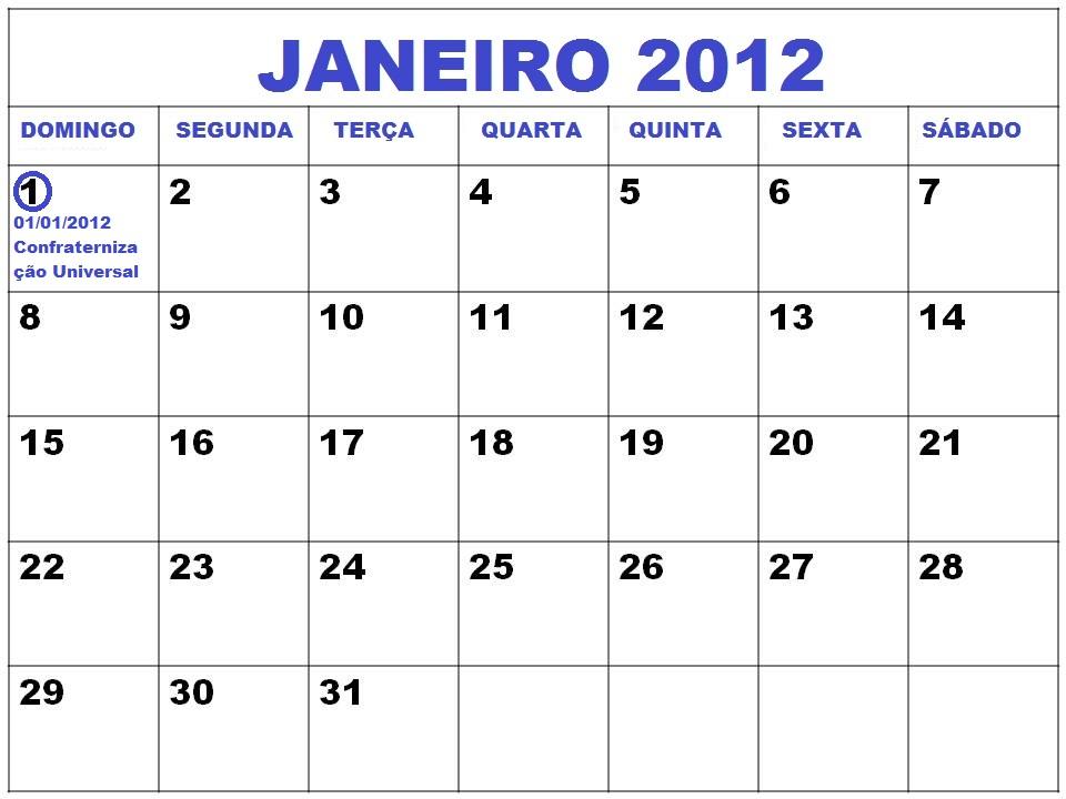 CALENDÁRIO JANEIRO 2012 - FERIADOS JANEIRO 2012 E DATAS COMEMORATIVAS