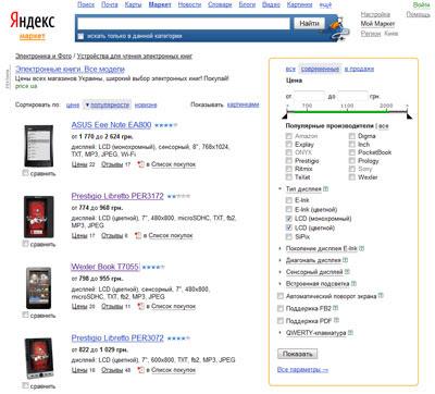 Яндекс.Маркет поможет правильно выбрать электронную книгу