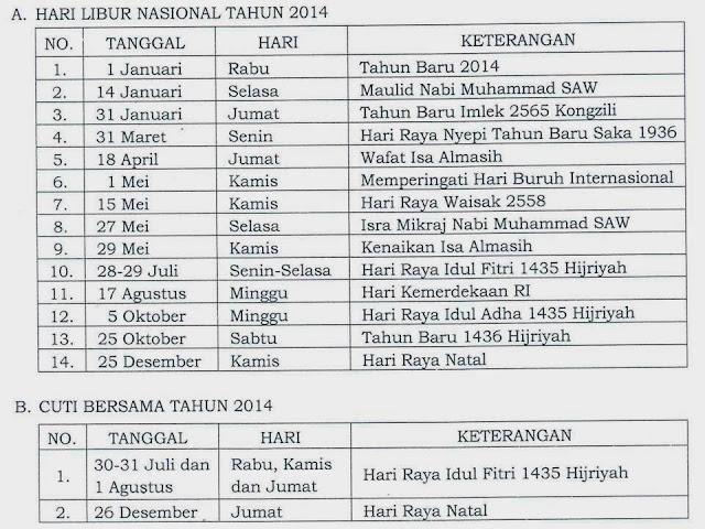 Hari Libur Nasional dan Cuti Bersama Tahun 2014 Menurut SKB Tiga