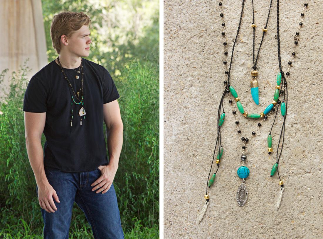 men's coachella jewelry by Quiet Lion Creations. Model credit: Ryan Folliard