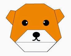 Bước 9: Vẽ mắt, mũi và miệng để hoàn thành cách xếp mặt con gấu giấy.