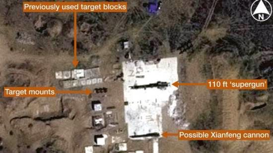 Pencitraan satelit artileri raksasa China