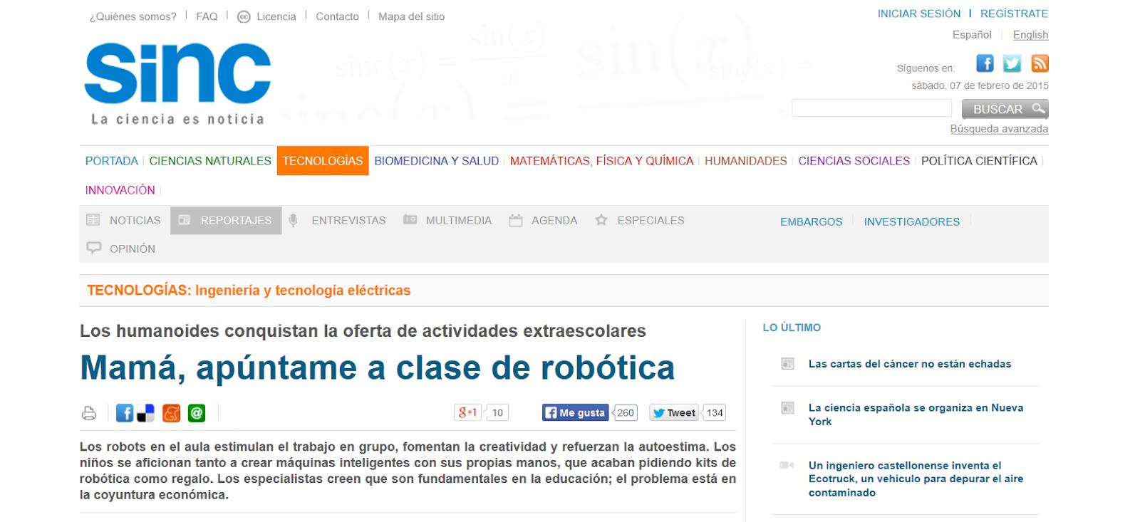 http://www.agenciasinc.es/Reportajes/Mama-apuntame-a-clase-de-robotica