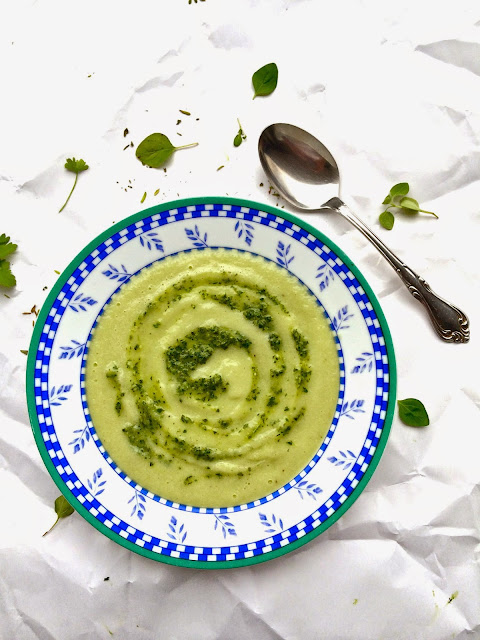 Passionately Raw! : Chilled Raw Cucumber Avocado Soup With Chimichurri