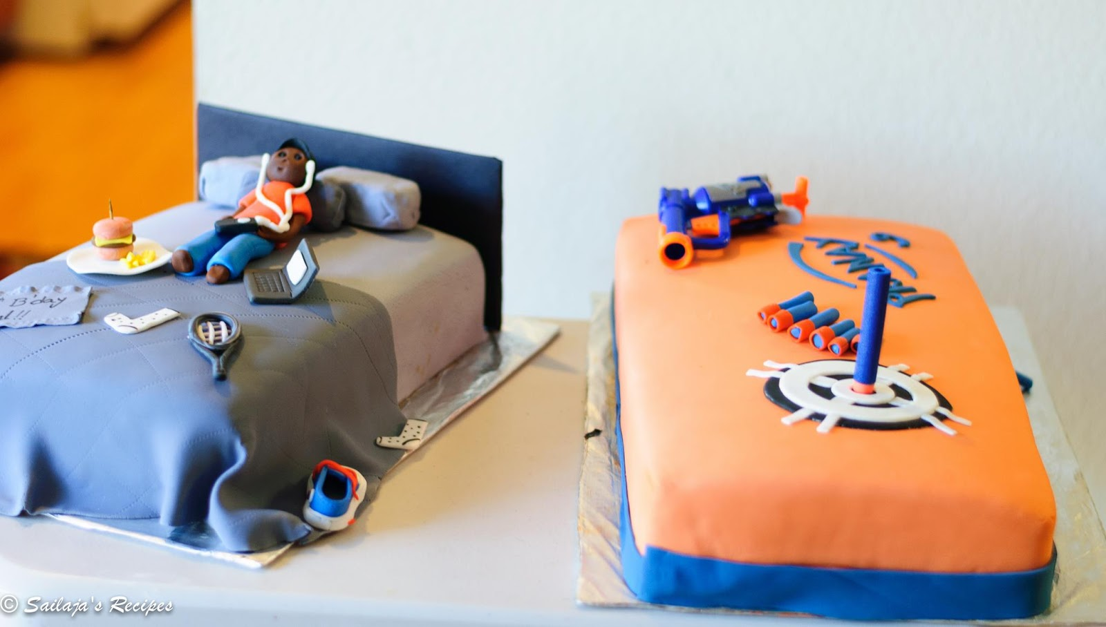 Sailajas Recipes Teenage boys Bed room and Nerf Gun theme cake