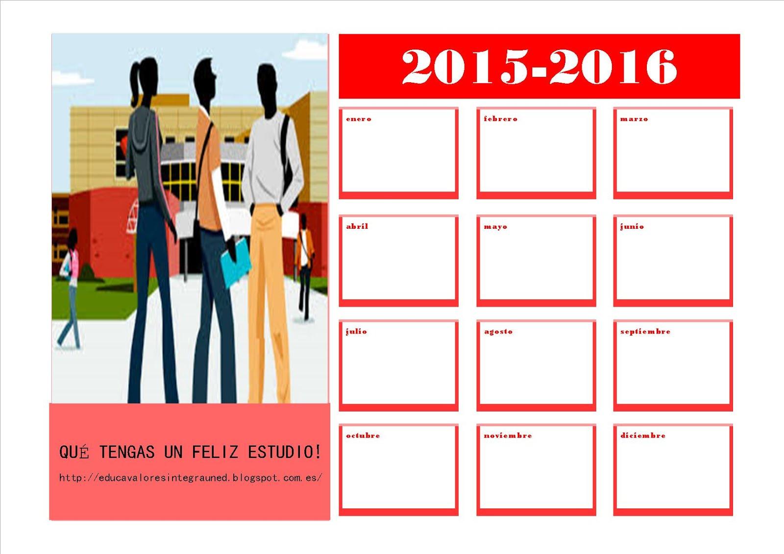 ¡GRATIS! CALENDARIO ESCOLAR 2015-2016 MES A MES