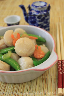 ... Recipe: Stir fried scallops with sugar snap peas, celery and carrots