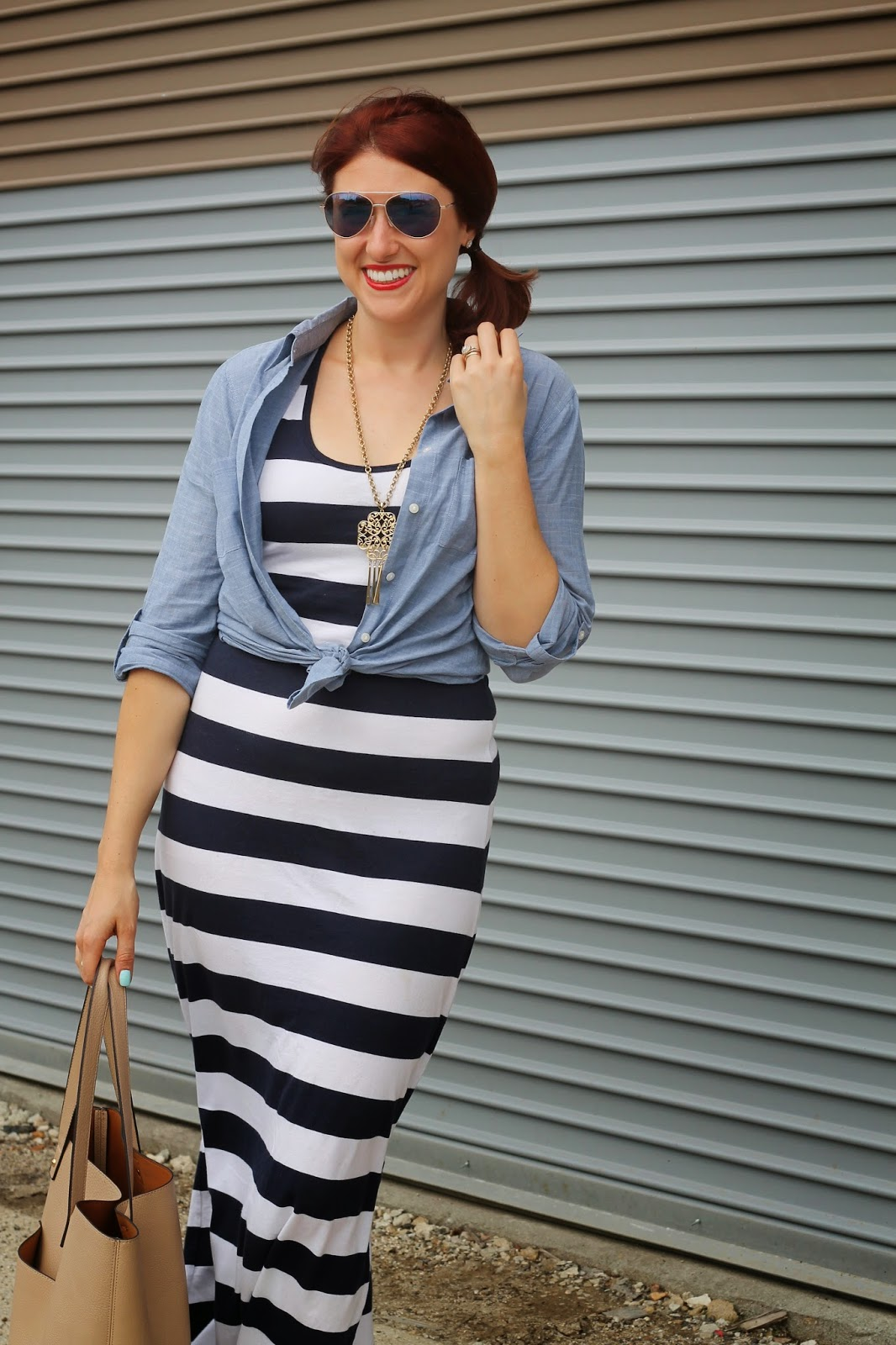 maxi,dress, striped, chambray