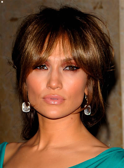 Jennifer Lopez Brunette Updo with Bangs