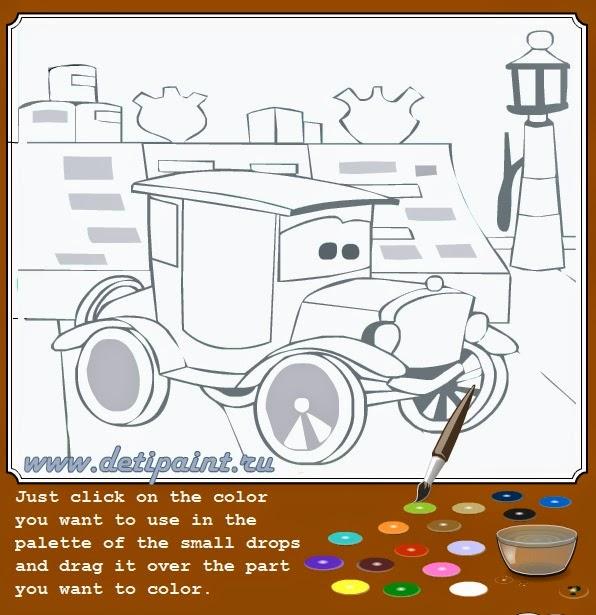 Тачки - онлайн раскраска для мальчиков.