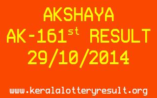 AKSHAYA Lottery AK-161 Result 29-10-2014