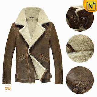 Mens Sheepskin B-3 Bomber Jacket | Fur Lined Coat