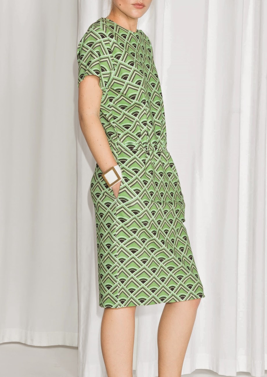 stories green print dress