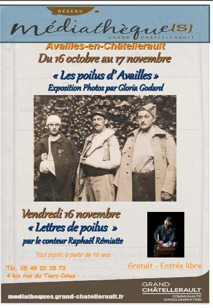 Expo les Poilus d'Availles à la Médiathèque PE. Victor
