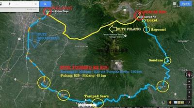 peta rute ke b29 dari malang