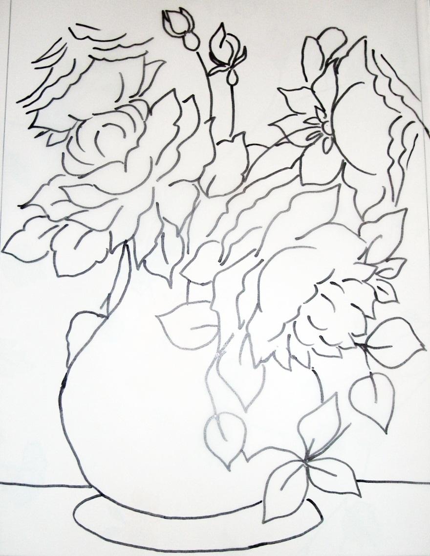 Dibujos para pintar en tela flores Rosa Dibujos para  - Imagenes De Rosas Para Pintar En Tela
