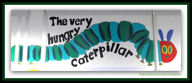 photo of: The Very Hungry Caterpillar as Mural in the School Library via RainbowsWithinReach