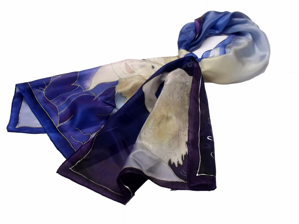 Vevői kérésre készült egyedi selyem kendők, sálak.