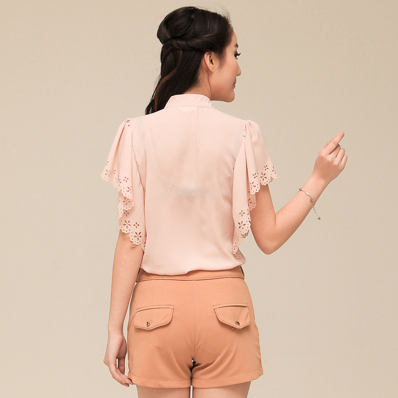 Creative Fashion Blouse Women Body Causal Long Sleeve Chiffon Blouses Turn Down