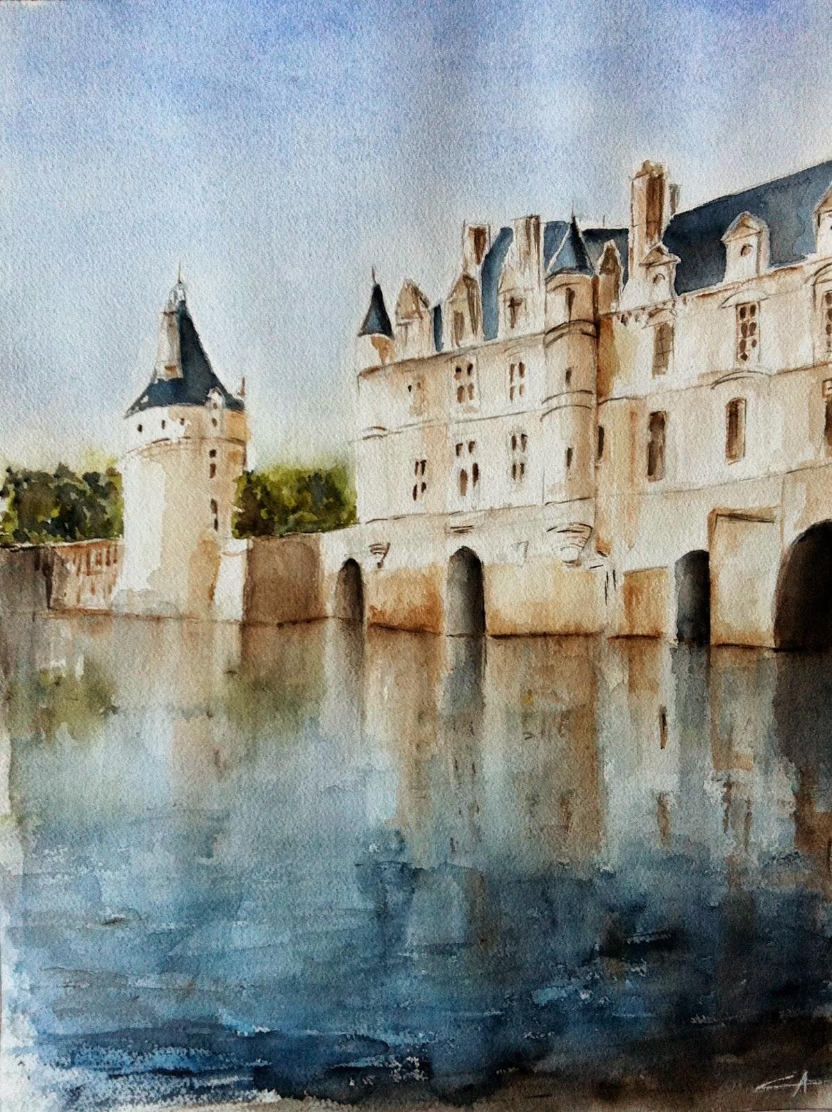 château chenonceau aquarelle touraine