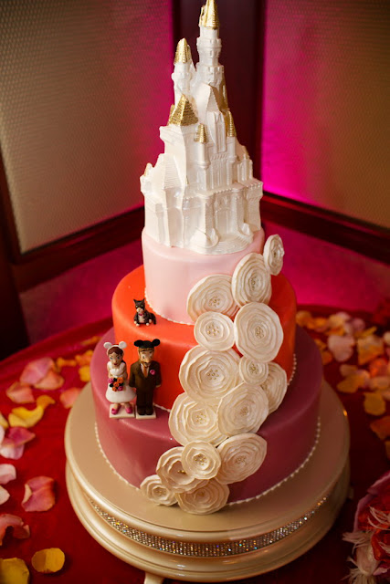 Disneyland Wedding Cake Pink and Orange