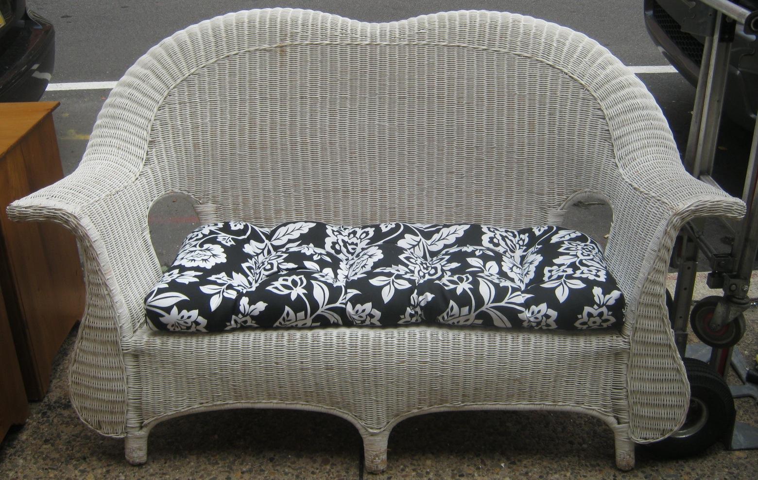 Uhuru Furniture Collectibles White Wicker Loveseat Sold