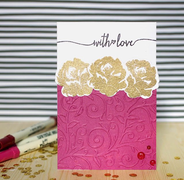 CaS card with Altenew vintage flowers by @pionizglini #cas #cardmaking #altenew
