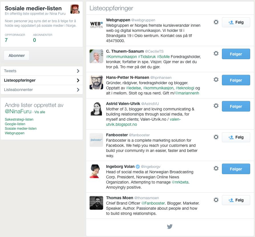 Sosiale medier-listen