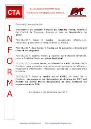 C.T.A. INFORMA CRÉDITO HORARIO ANTONIO PÉREZ, NOVIEMBRE 2017