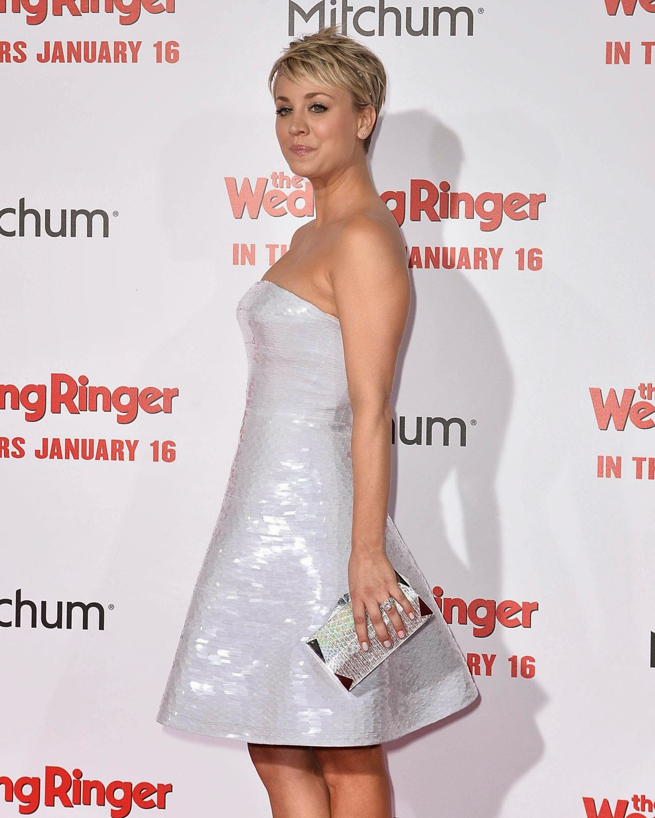 Kaley Cuoco wears strapless dress for 'The Wedding Ringer' Hollywood premiere