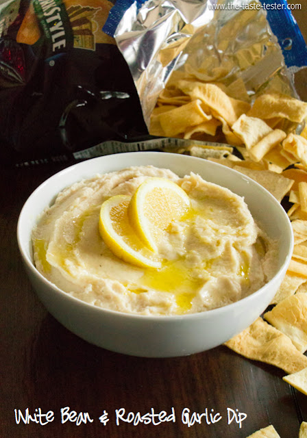 White Bean and Roasted Garlic Dip www.the-taste-tester.com #recipe #dip #appetizer