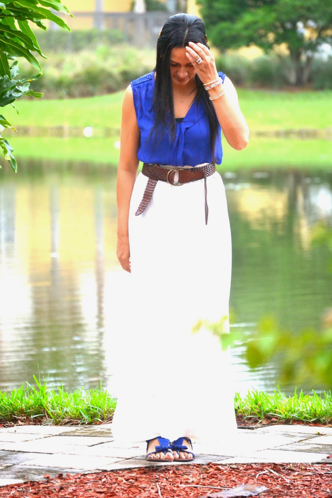 Boho Fashion sheer blue blouse white maxi skirt kim kardashian headpiece www.sandysandhu.co