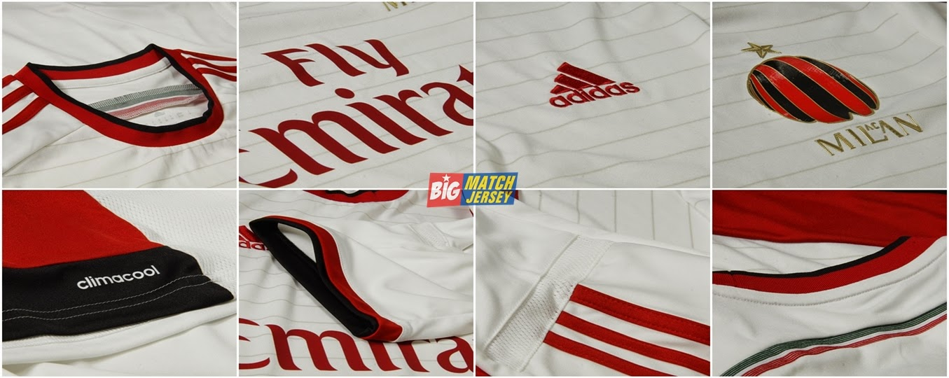 Detail Jersey GO Impor Adidas Climacool Ac Milan Away White Red Official Season 2015 Serie-A