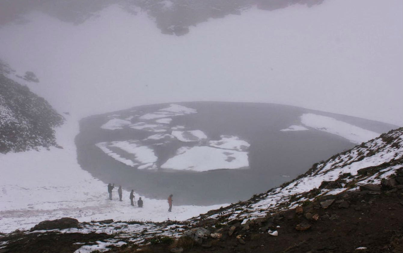 The frozen Roopkund Lake