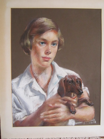 Pastel or Charcoal Portrait of a young girl with dachsund by Francis J. Quirk
