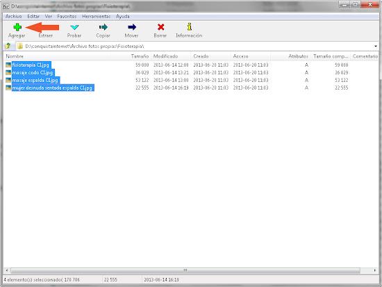 Seleccionar archivos y Agregar en 7zip