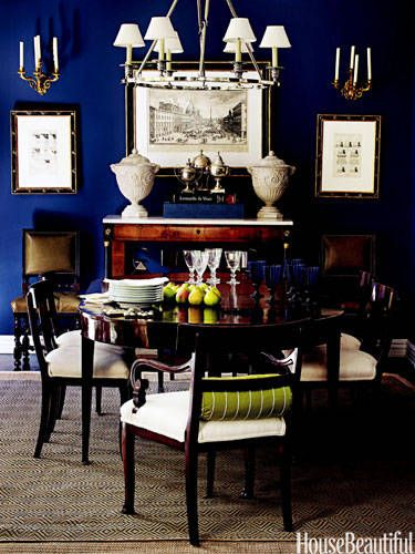 2015 Color of the Year Cobalt Blue Dining Room