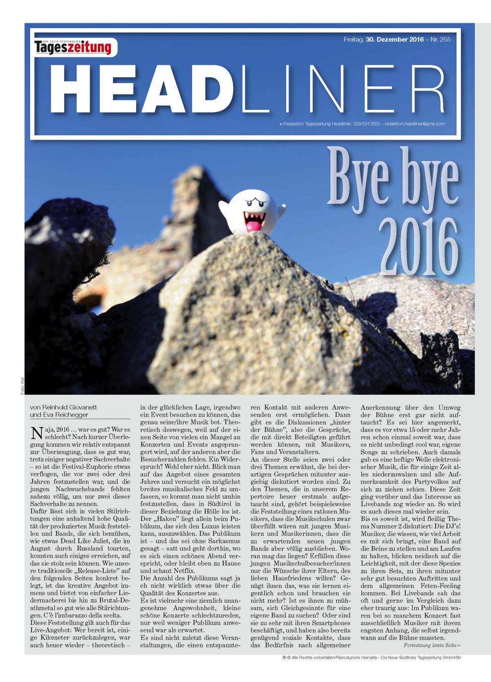 "Headliner #429 - ""Bye bye 2016"""