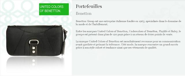 Portefeuilles Benetton à 9.99€ au lieu de 29€ Promotion Benetton