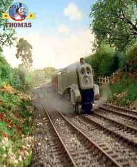 Thomas the tank engine and Spencer train trouble on the tracks out of water on steep Gordon's hill
