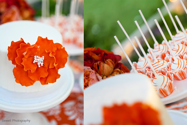 Cake and Cake Lollipops with Orange Accents